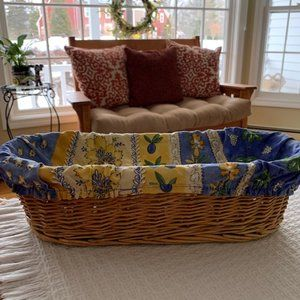 Bread Basket w/100% Cotton Yellow/Blue Liner